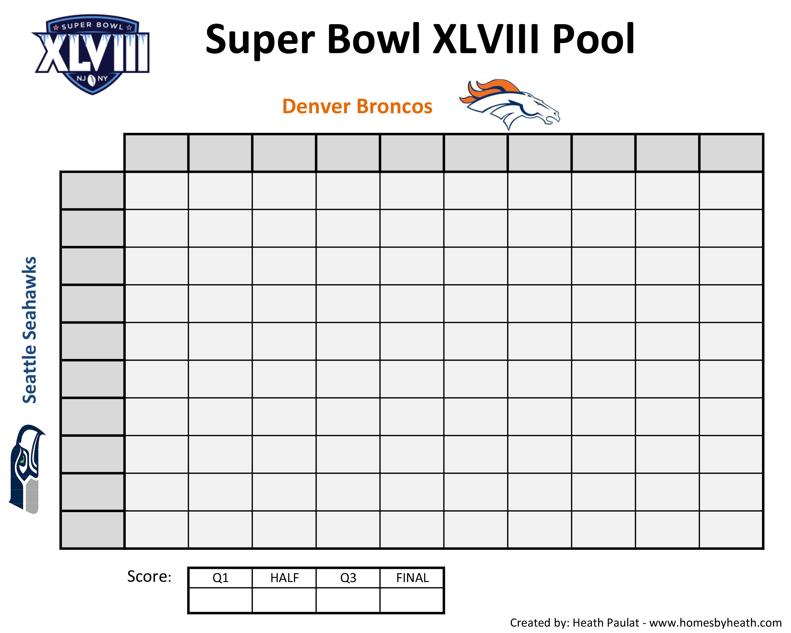 super bowl – Foot Ball Square Template